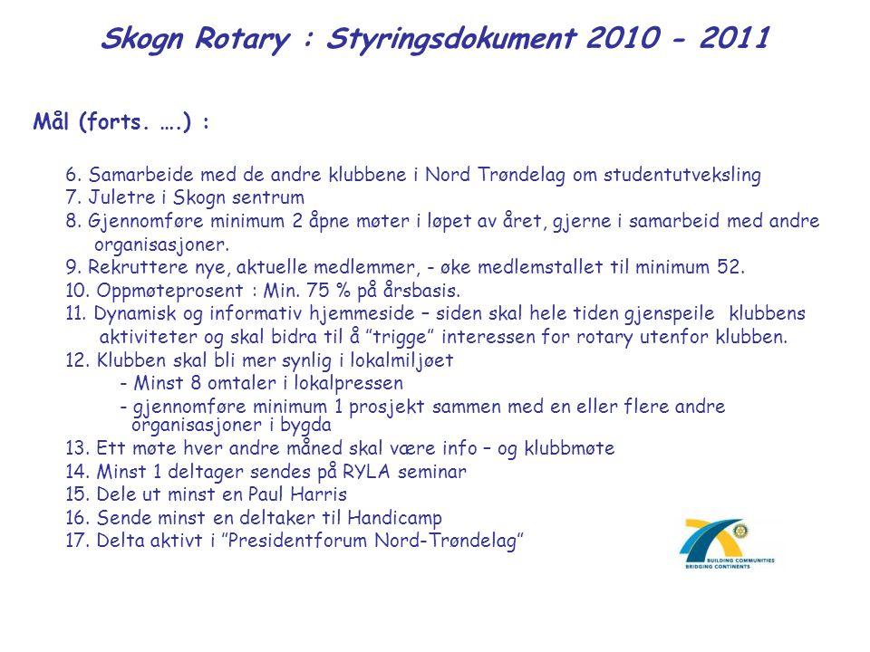 Skogn Rotary : Styringsdokument 2010 - 2011 Mål (forts. ….) : 6. Samarbeide med de andre klubbene i Nord Trøndelag om studentutveksling 7. Juletre i S