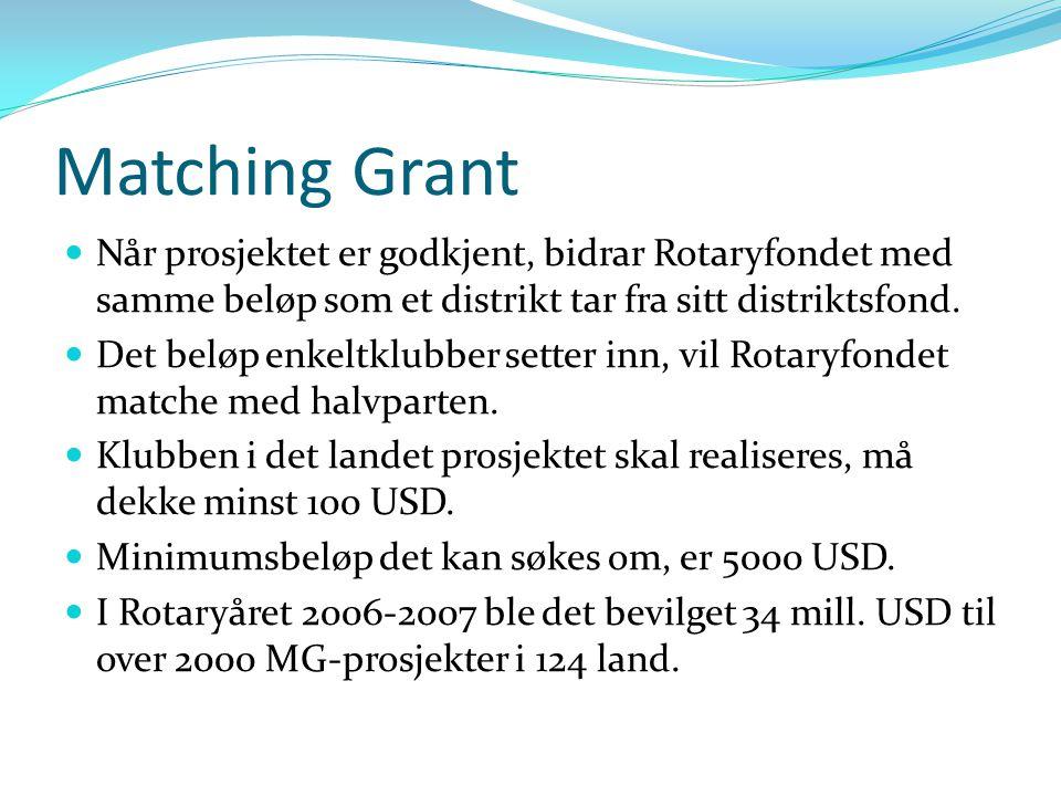 Matching Grant Når prosjektet er godkjent, bidrar Rotaryfondet med samme beløp som et distrikt tar fra sitt distriktsfond. Det beløp enkeltklubber set