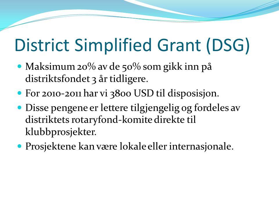 District Simplified Grant (DSG) Maksimum 20% av de 50% som gikk inn på distriktsfondet 3 år tidligere. For 2010-2011 har vi 3800 USD til disposisjon.