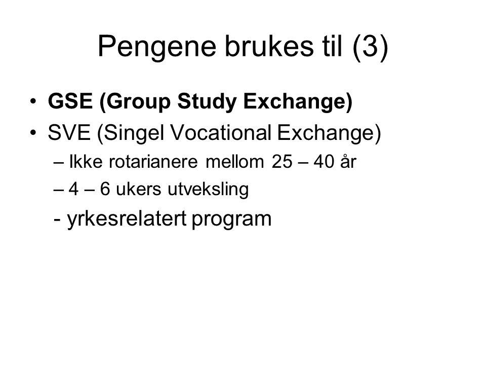 Pengene brukes til (3) GSE (Group Study Exchange) SVE (Singel Vocational Exchange) –Ikke rotarianere mellom 25 – 40 år –4 – 6 ukers utveksling - yrkesrelatert program