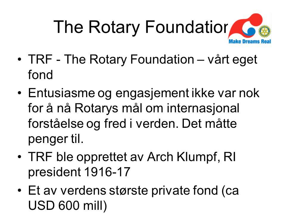 The Rotary Foundation TRF - The Rotary Foundation – vårt eget fond Entusiasme og engasjement ikke var nok for å nå Rotarys mål om internasjonal forståelse og fred i verden.