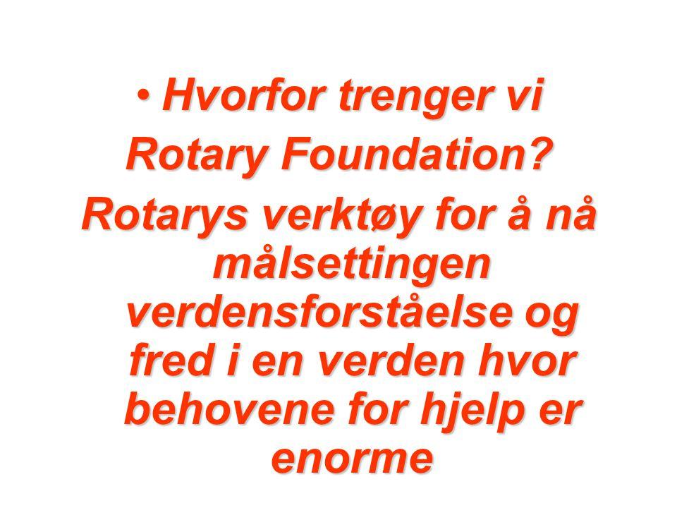 Hvorfor trenger vi Rotary Foundation.