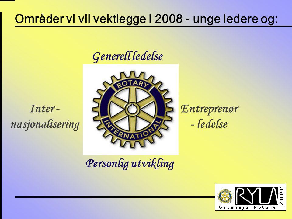 Områder vi vil vektlegge i 2008 - unge ledere og: Inter - nasjonalisering Personlig utvikling Generell ledelse Entreprenør - ledelse