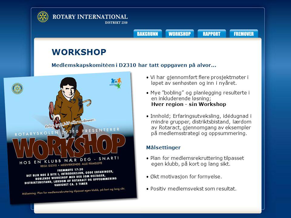 RAPPORT Det har vært gjennomført Workshop i samtlige 6 regioner.