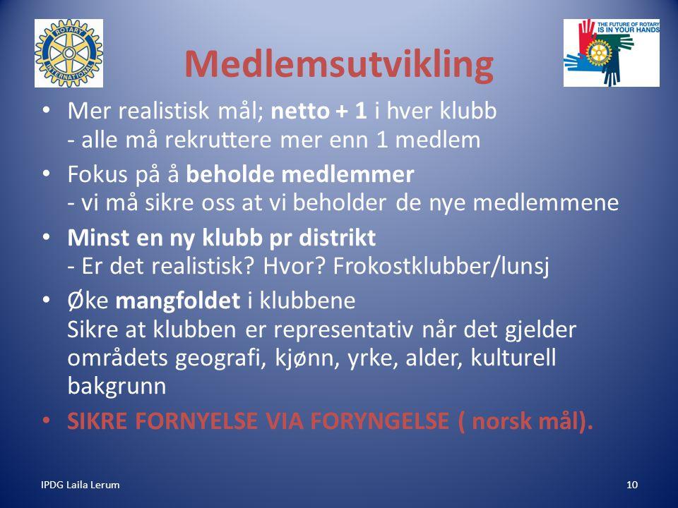 IPDG Laila Lerum10 Medlemsutvikling Mer realistisk mål; netto + 1 i hver klubb - alle må rekruttere mer enn 1 medlem Fokus på å beholde medlemmer - vi