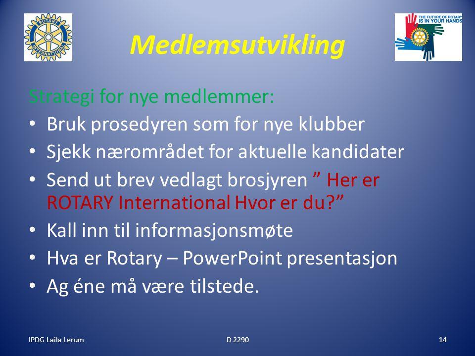 IPDG Laila Lerum14 Medlemsutvikling Strategi for nye medlemmer: Bruk prosedyren som for nye klubber Sjekk nærområdet for aktuelle kandidater Send ut b