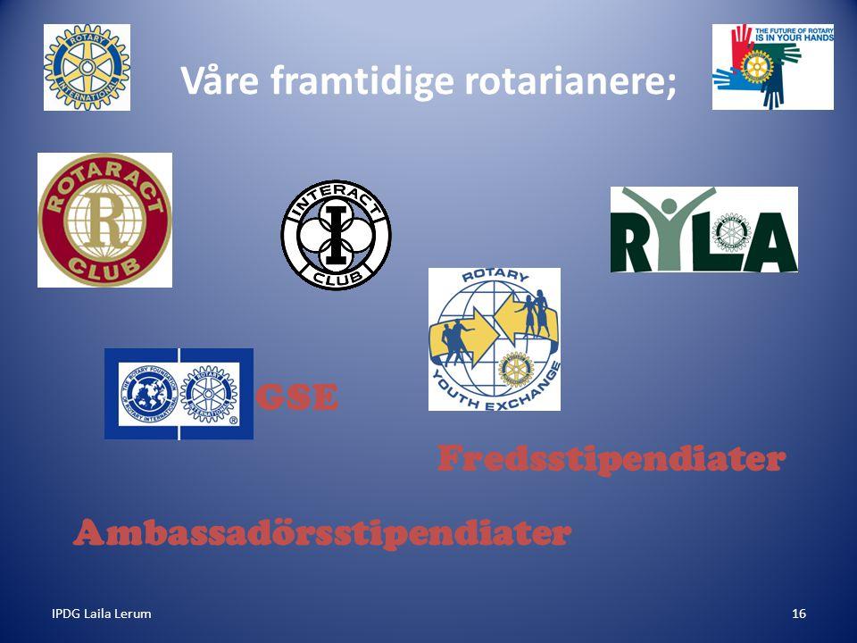 IPDG Laila Lerum16 Våre framtidige rotarianere; Ambassadörsstipendiater GSE Fredsstipendiater