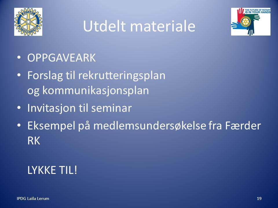 IPDG Laila Lerum19 Utdelt materiale OPPGAVEARK Forslag til rekrutteringsplan og kommunikasjonsplan Invitasjon til seminar Eksempel på medlemsundersøke
