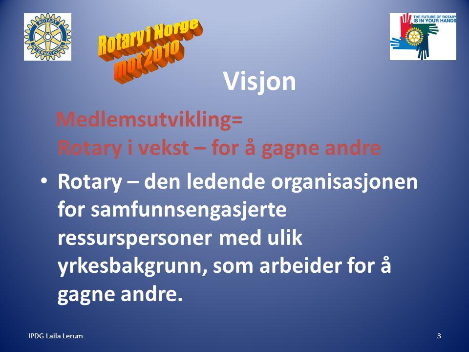 IPDG Laila Lerum4 ROTARY mot år 2010 Medlemsutvikling = Å invitere til En mulighetenes organisasjon Grunnpilarer – Vennskap – Etikk – Utveksling av yrkeserfaring – Arbeide for internasjonal fred og forståelse