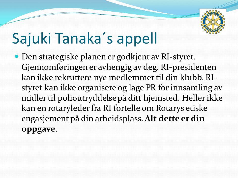 Sajuki Tanaka´s appell Den strategiske planen er godkjent av RI-styret.