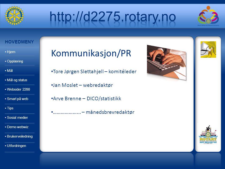 Kommunikasjon/PR Tore Jørgen Slettahjell – komitéleder Jan Moslet – webredaktør Arve Brenne – DICO/statistikk ………………... – månedsbrevredaktør HOVEDMENY