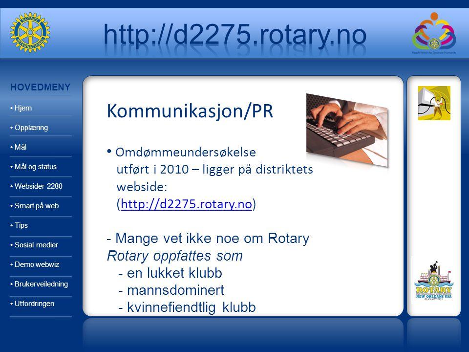 Kommunikasjon/PR Omdømmeundersøkelse utført i 2010 – ligger på distriktets webside: (http://d2275.rotary.no)http://d2275.rotary.no - Mange vet ikke noe om Rotary Rotary oppfattes som - en lukket klubb - mannsdominert - kvinnefiendtlig klubb HOVEDMENY Hjem Opplæring Mål Mål og status Websider 2280 Smart på web Tips Sosial medier Demo webwiz Brukerveiledning Utfordringen