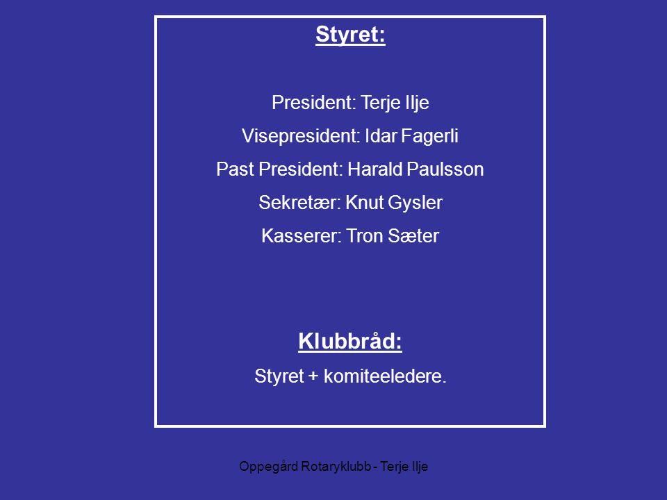 Styret: President: Terje Ilje Visepresident: Idar Fagerli Past President: Harald Paulsson Sekretær: Knut Gysler Kasserer: Tron Sæter Klubbråd: Styret + komiteeledere.