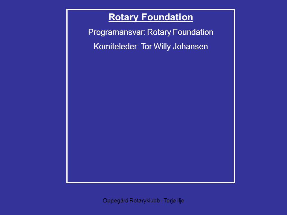 Oppegård Rotaryklubb - Terje Ilje Rotary Foundation Programansvar: Rotary Foundation Komiteleder: Tor Willy Johansen