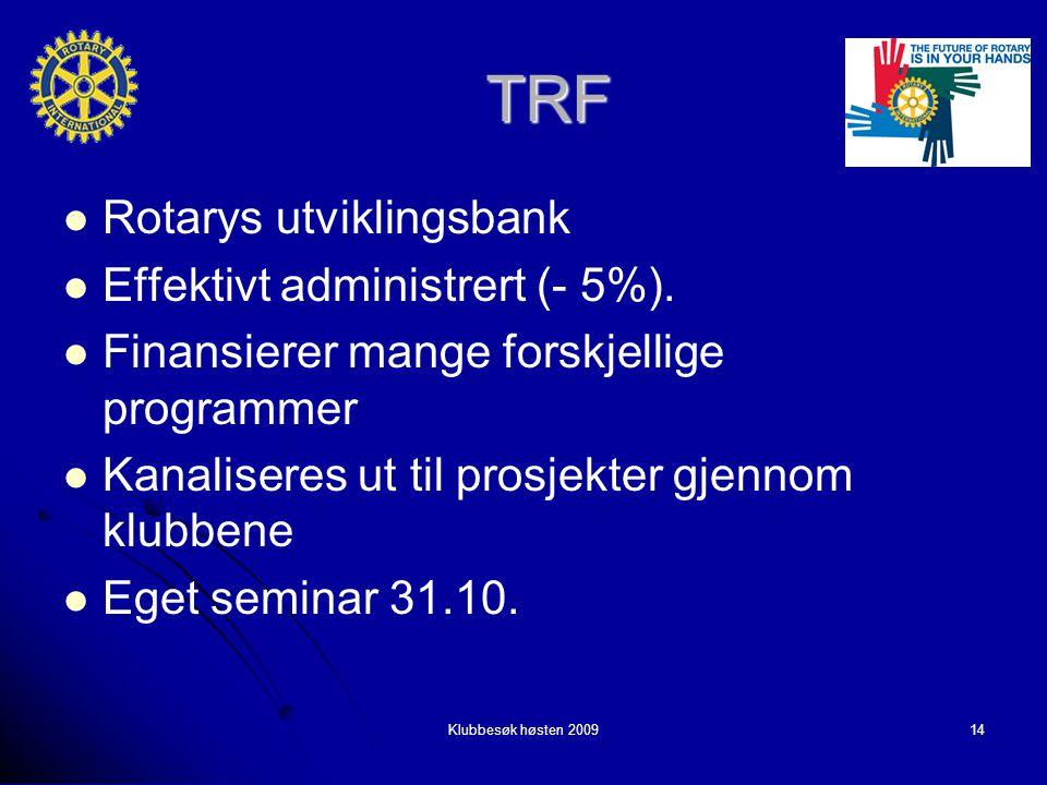 Klubbesøk høsten 200914 TRF Rotarys utviklingsbank Rotarys utviklingsbank Effektivt administrert (- 5%).