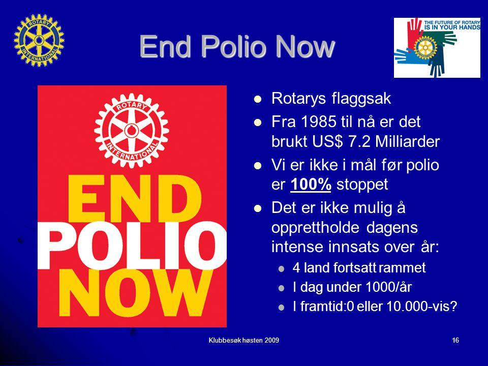 Klubbesøk høsten 200916 End Polio Now Rotarys flaggsak Rotarys flaggsak Fra 1985 til nå er det brukt US$ 7.2 Milliarder Fra 1985 til nå er det brukt US$ 7.2 Milliarder Vi er ikke i mål før polio er 100% stoppet Vi er ikke i mål før polio er 100% stoppet Det er ikke mulig å opprettholde dagens intense innsats over år: Det er ikke mulig å opprettholde dagens intense innsats over år: 4 land fortsatt rammet I dag under 1000/år I framtid:0 eller 10.000-vis?