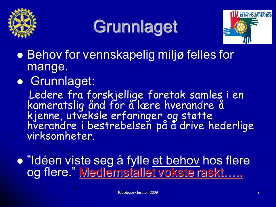 Klubbesøk høsten 20097 Grunnlaget Behov for vennskapelig miljø felles for mange.