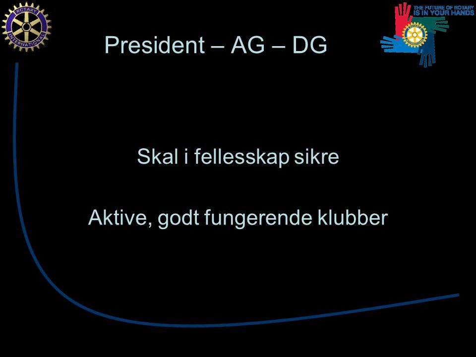 President – AG – DG Skal i fellesskap sikre Aktive, godt fungerende klubber