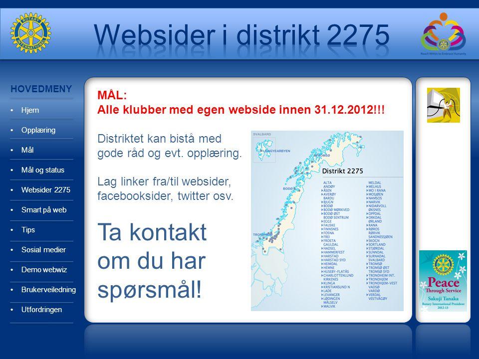 HOVEDMENY Hjem Opplæring Mål Mål og status Websider 2275 Smart på web Tips Sosial medier Demo webwiz Brukerveiledning Utfordringen MÅL: Alle klubber med egen webside innen 31.12.2012!!.