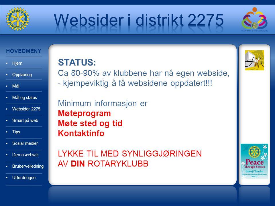 HOVEDMENY Hjem Opplæring Mål Mål og status Websider 2275 Smart på web Tips Sosial medier Demo webwiz Brukerveiledning Utfordringen STATUS: Ca 80-90% a