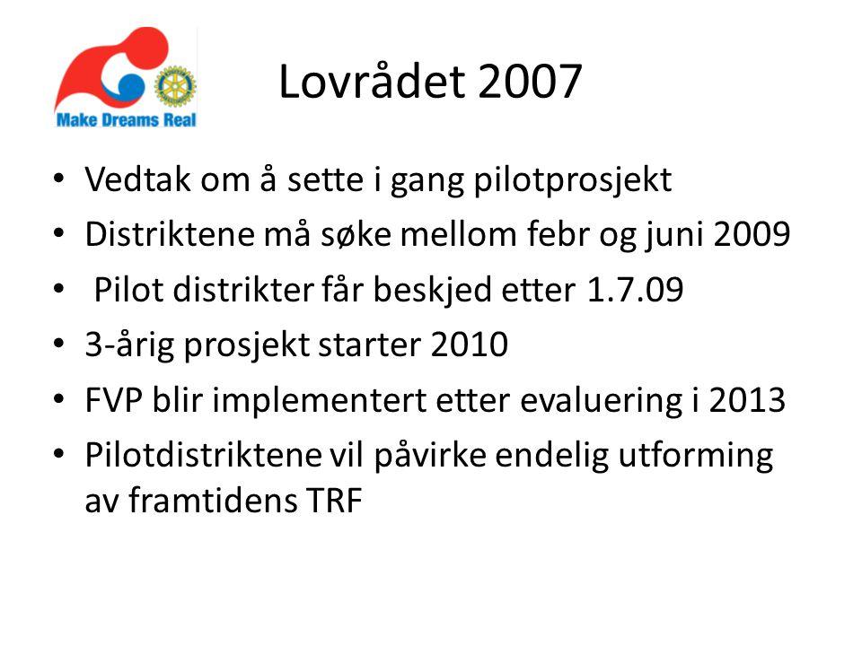 Lovrådet 2007 Vedtak om å sette i gang pilotprosjekt Distriktene må søke mellom febr og juni 2009 Pilot distrikter får beskjed etter 1.7.09 3-årig prosjekt starter 2010 FVP blir implementert etter evaluering i 2013 Pilotdistriktene vil påvirke endelig utforming av framtidens TRF