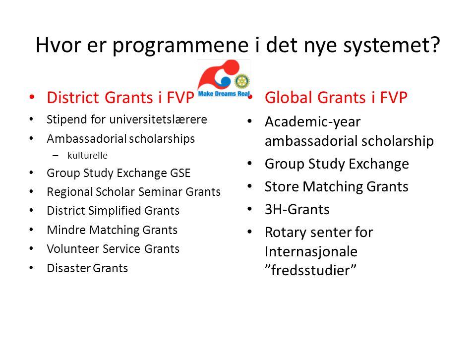 Hvor er programmene i det nye systemet? District Grants i FVP Stipend for universitetslærere Ambassadorial scholarships – kulturelle Group Study Excha