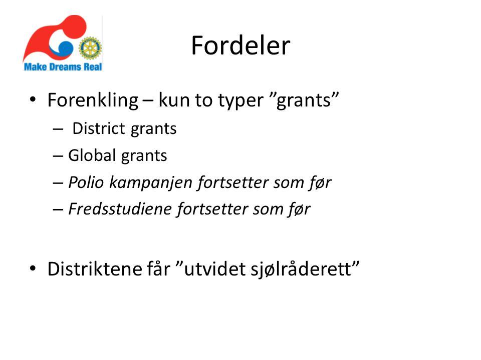 """Fordeler Forenkling – kun to typer """"grants"""" – District grants – Global grants – Polio kampanjen fortsetter som før – Fredsstudiene fortsetter som før"""