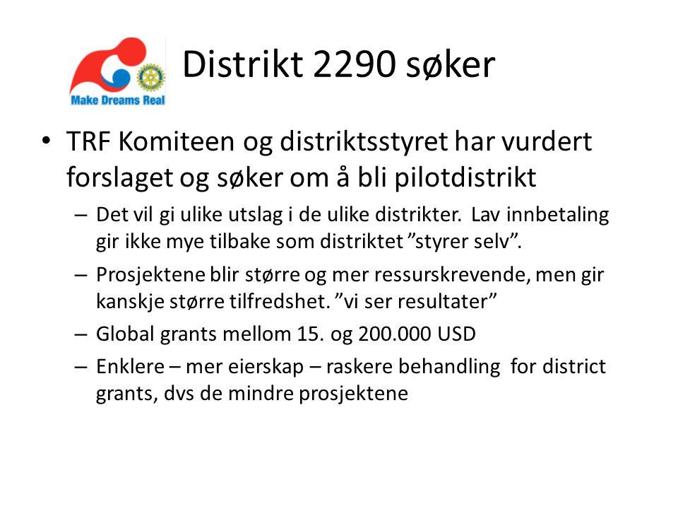 Distrikt 2290 søker TRF Komiteen og distriktsstyret har vurdert forslaget og søker om å bli pilotdistrikt – Det vil gi ulike utslag i de ulike distrikter.