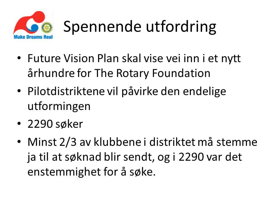 Spennende utfordring Future Vision Plan skal vise vei inn i et nytt århundre for The Rotary Foundation Pilotdistriktene vil påvirke den endelige utformingen 2290 søker Minst 2/3 av klubbene i distriktet må stemme ja til at søknad blir sendt, og i 2290 var det enstemmighet for å søke.