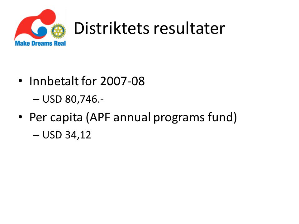 Distriktets resultater Innbetalt for – USD 80,746.- Per capita (APF annual programs fund) – USD 34,12