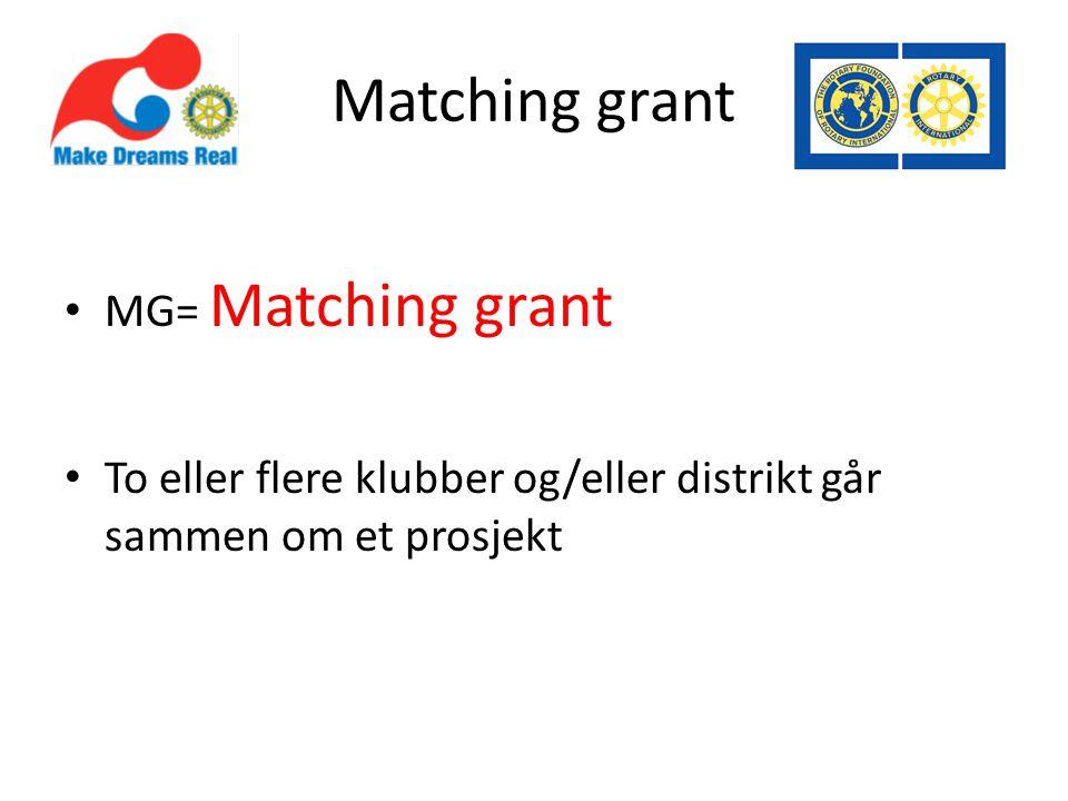Matching grant MG= Matching grant To eller flere klubber og/eller distrikt går sammen om et prosjekt