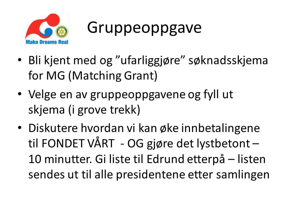 """Gruppeoppgave Bli kjent med og """"ufarliggjøre"""" søknadsskjema for MG (Matching Grant) Velge en av gruppeoppgavene og fyll ut skjema (i grove trekk) Disk"""