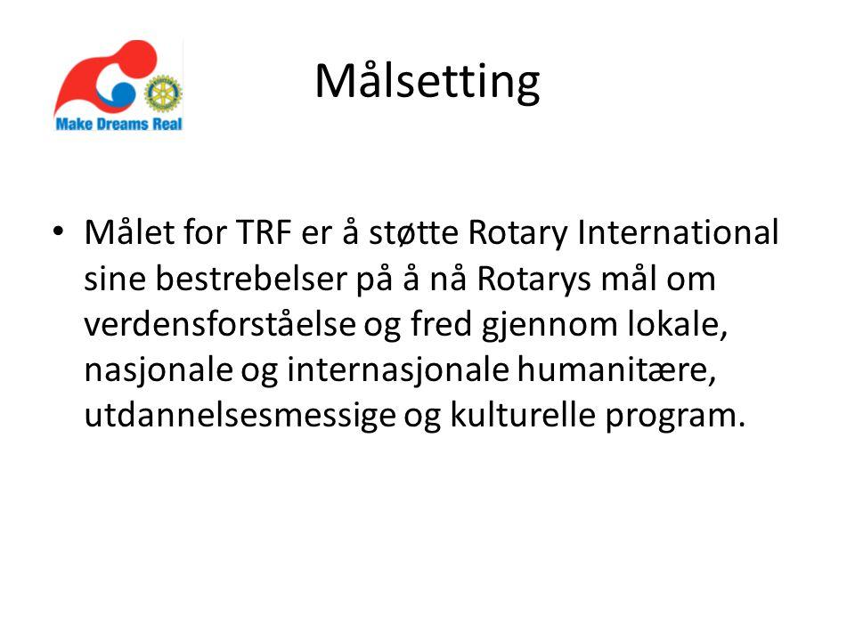Målsetting Målet for TRF er å støtte Rotary International sine bestrebelser på å nå Rotarys mål om verdensforståelse og fred gjennom lokale, nasjonale