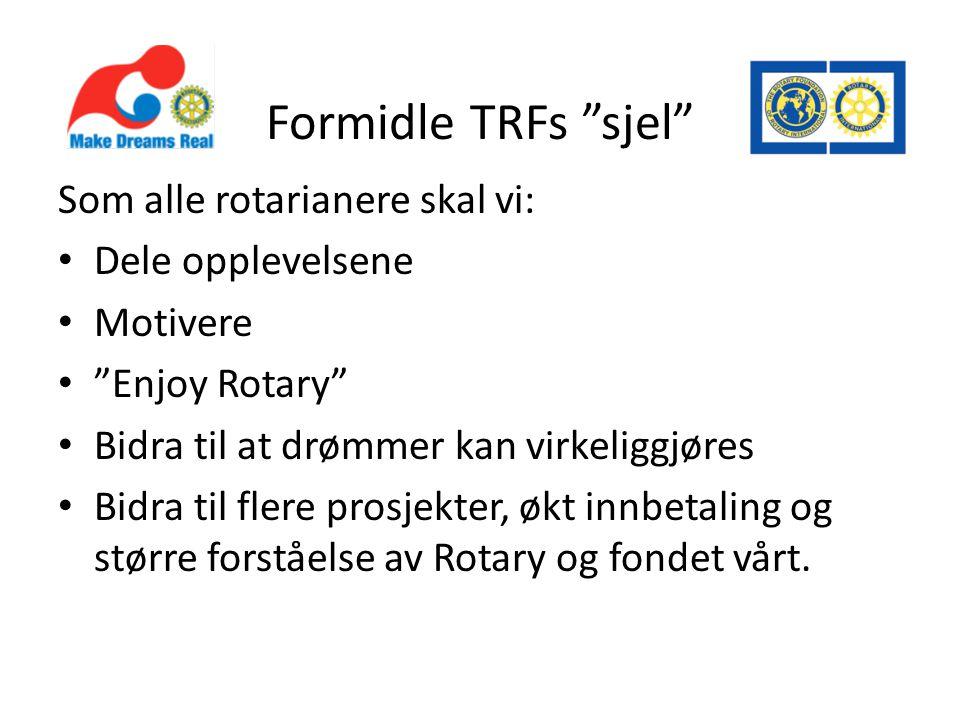 Formidle TRFs sjel Som alle rotarianere skal vi: Dele opplevelsene Motivere Enjoy Rotary Bidra til at drømmer kan virkeliggjøres Bidra til flere prosjekter, økt innbetaling og større forståelse av Rotary og fondet vårt.