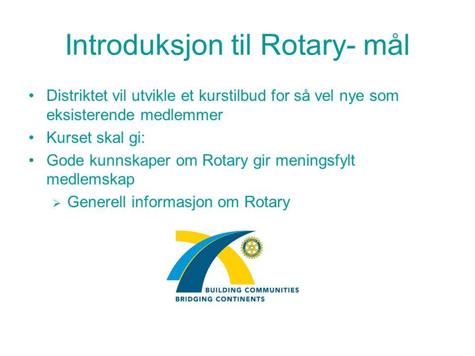 Introduksjon til Rotary- mål Distriktet vil utvikle et kurstilbud for så vel nye som eksisterende medlemmer Kurset skal gi: Gode kunnskaper om Rotary gir meningsfylt medlemskap  Generell informasjon om Rotary