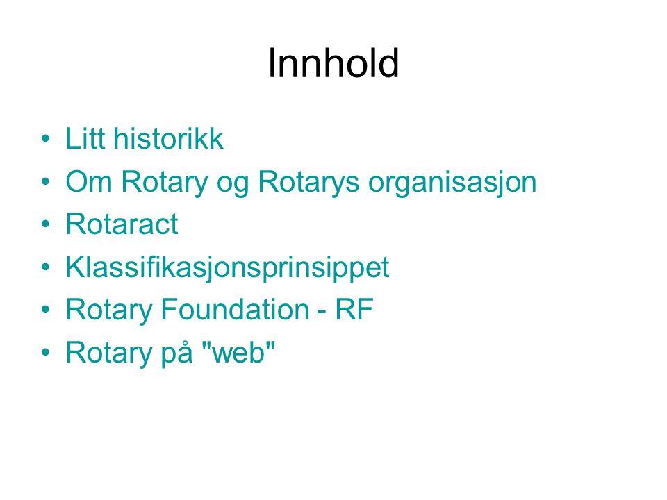 Litt historikk Om Rotary og Rotarys organisasjon Rotaract Klassifikasjonsprinsippet Rotary Foundation - RF Rotary på web Innhold