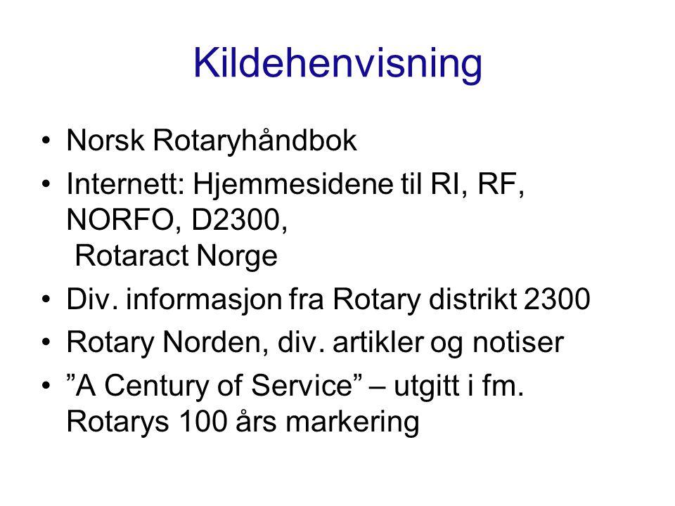 Kildehenvisning Norsk Rotaryhåndbok Internett: Hjemmesidene til RI, RF, NORFO, D2300, Rotaract Norge Div.