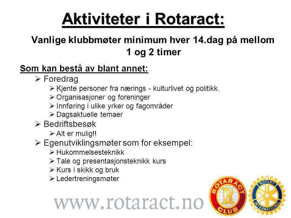 Aktiviteter i Rotaract: Vanlige klubbmøter minimum hver 14.dag på mellom 1 og 2 timer Som kan bestå av blant annet:  Foredrag  Kjente personer fra nærings - kulturlivet og politikk.