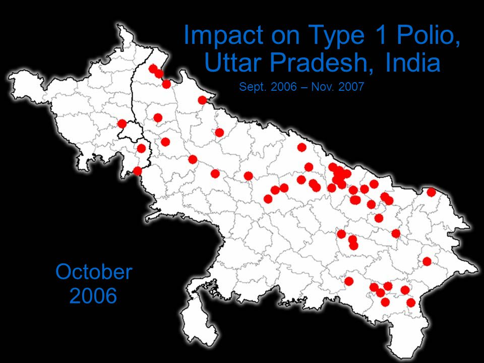 Impact on Type 1 Polio, Uttar Pradesh, India Sept. 2006 – Nov. 2007 October 2006
