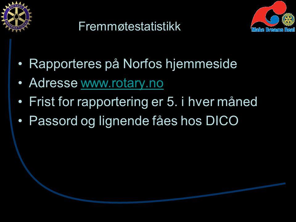 Fremmøtestatistikk Rapporteres på Norfos hjemmeside Adresse www.rotary.nowww.rotary.no Frist for rapportering er 5.