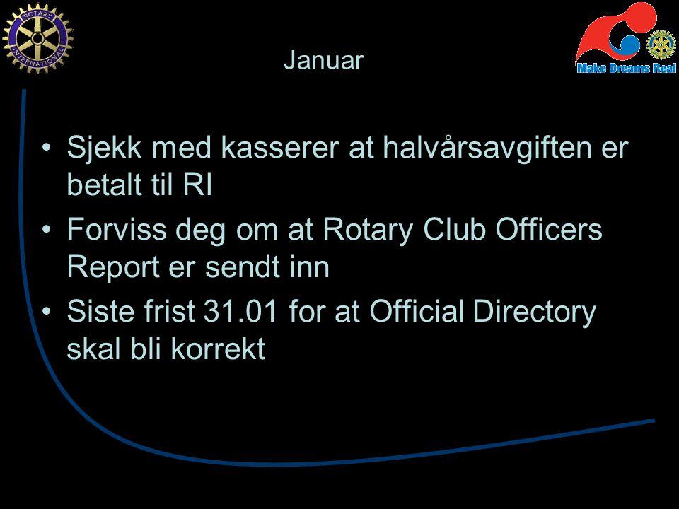 Januar Sjekk med kasserer at halvårsavgiften er betalt til RI Forviss deg om at Rotary Club Officers Report er sendt inn Siste frist 31.01 for at Official Directory skal bli korrekt