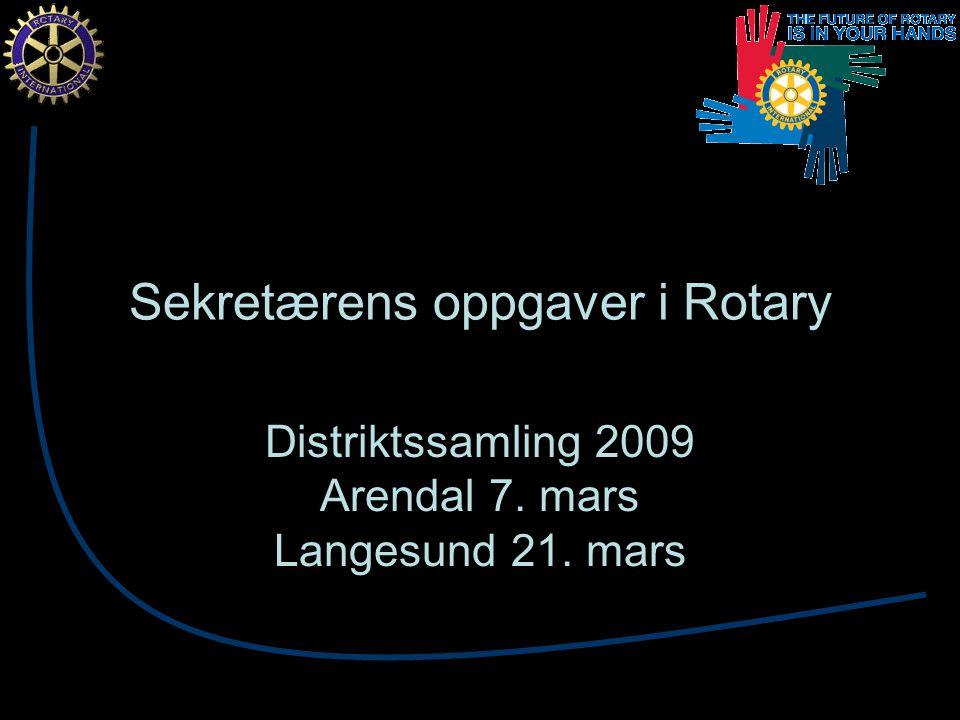 Sekretærens oppgaver i Rotary Distriktssamling 2009 Arendal 7. mars Langesund 21. mars