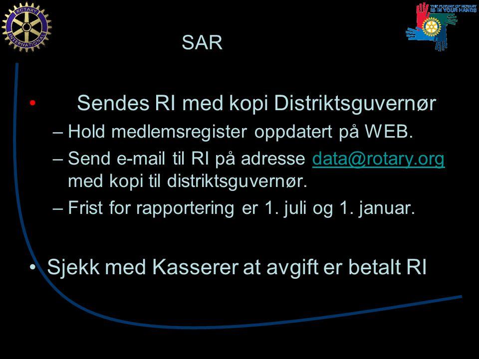 SAR Sendes RI med kopi Distriktsguvernør –Hold medlemsregister oppdatert på WEB.