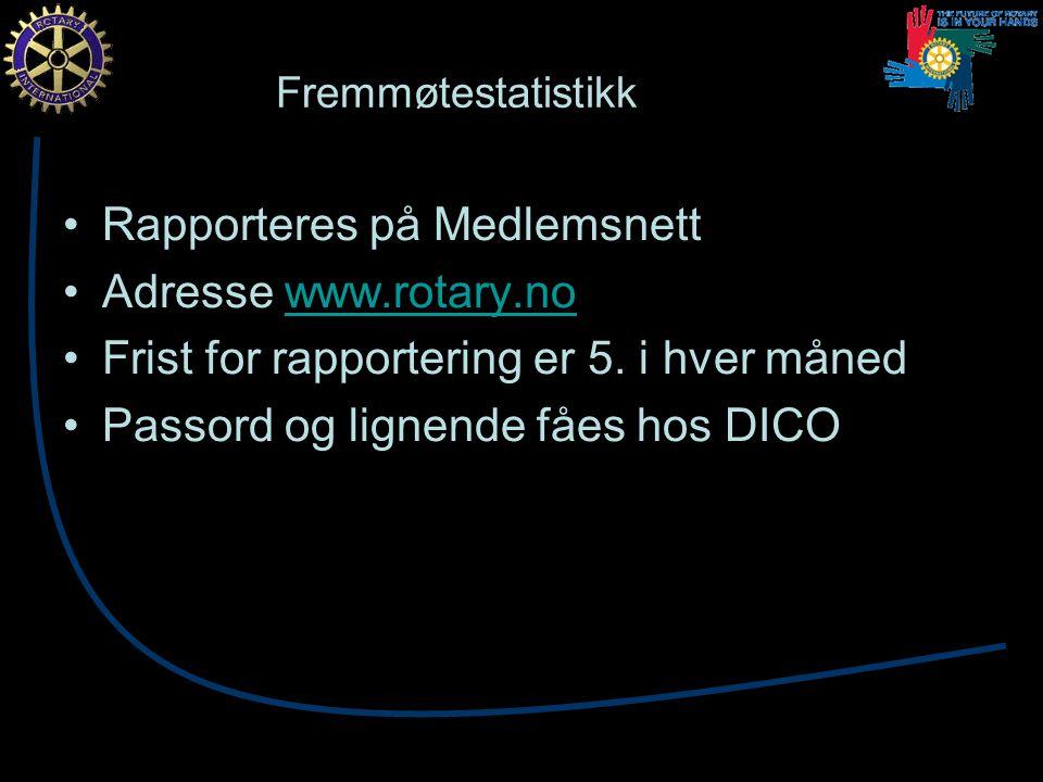 Fremmøtestatistikk Rapporteres på Medlemsnett Adresse www.rotary.nowww.rotary.no Frist for rapportering er 5.