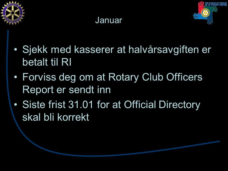 Februar Sjekk med kasserer at halvårsavgiften er betalt til Rotary i Norge