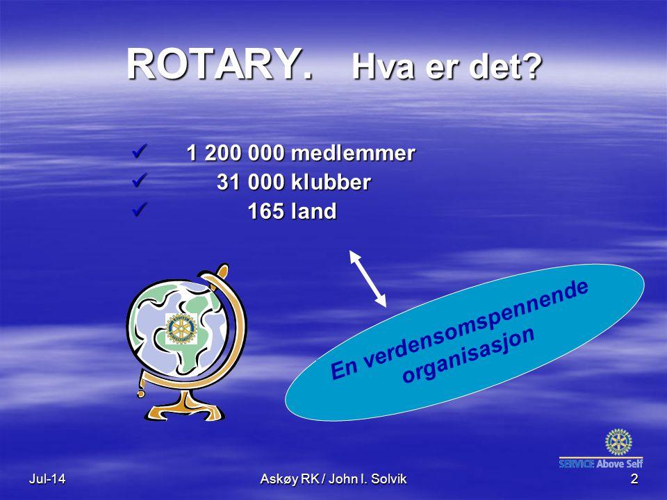 Jul-14Askøy RK / John I. Solvik2 ROTARY. Hva er det? 1 200 000 medlemmer 1 200 000 medlemmer 31 000 klubber 31 000 klubber 165 land 165 land En verden
