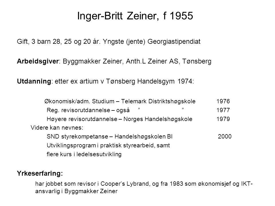 Inger-Britt Zeiner, f 1955 Gift, 3 barn 28, 25 og 20 år. Yngste (jente) Georgiastipendiat Arbeidsgiver: Byggmakker Zeiner, Anth.L Zeiner AS, Tønsberg