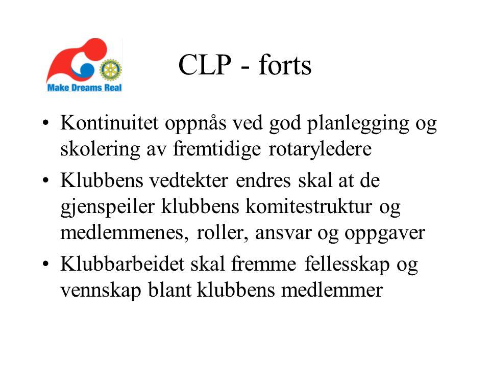 CLP - forts Kontinuitet oppnås ved god planlegging og skolering av fremtidige rotaryledere Klubbens vedtekter endres skal at de gjenspeiler klubbens komitestruktur og medlemmenes, roller, ansvar og oppgaver Klubbarbeidet skal fremme fellesskap og vennskap blant klubbens medlemmer