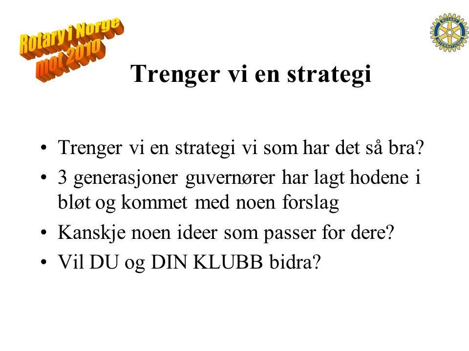 Trenger vi en strategi Trenger vi en strategi vi som har det så bra.