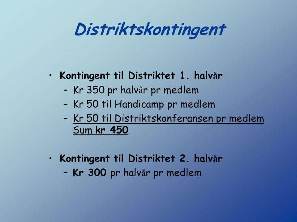 Distriktskontingent Kontingent til Distriktet 1. halv å r –Kr 350 pr halv å r pr medlem –Kr 50 til Handicamp pr medlem –Kr 50 til Distriktskonferansen